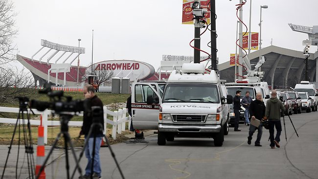 Members of the media gather near Arrowhead Stadium as they report on the death of Jovan Belcher. Picture: Getty Images