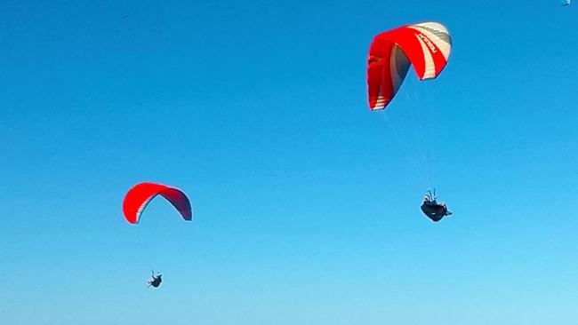 Manly Daily readers pix Paragliders off Warriewood Picture Scott Hampson