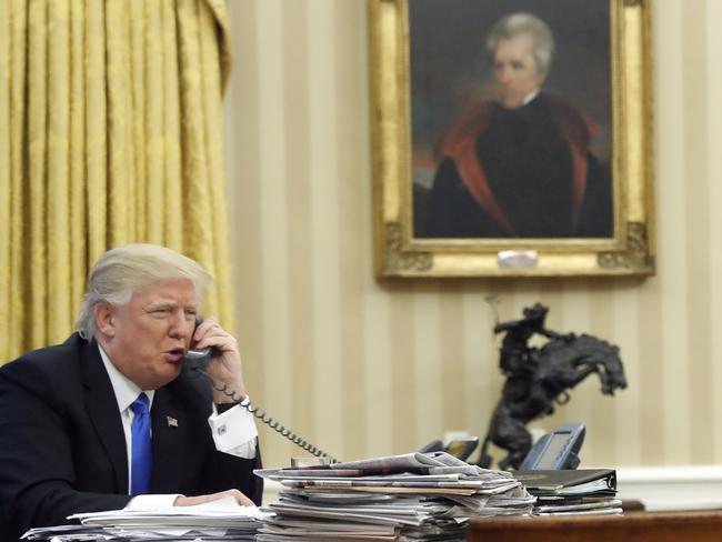 Donald Trump had a difficult phone call with Malcolm Turnbull this week. Picture: Alex Brandon/AP