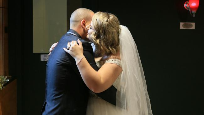 Ashlee Robinson and Darren Smith get married at RBWH. .Picture: Trinette Stevens