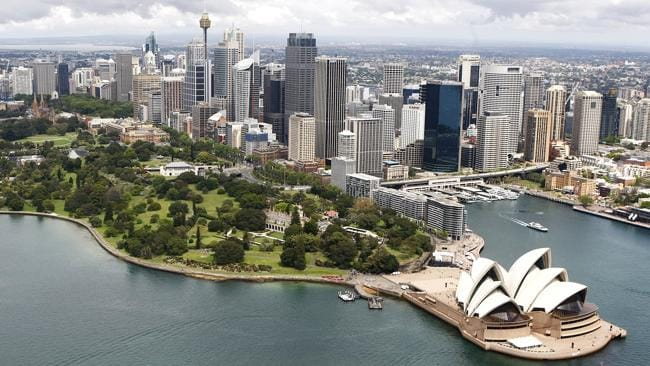 Aerial view of the Sydney Opera House and nearby Botanical Gardens.