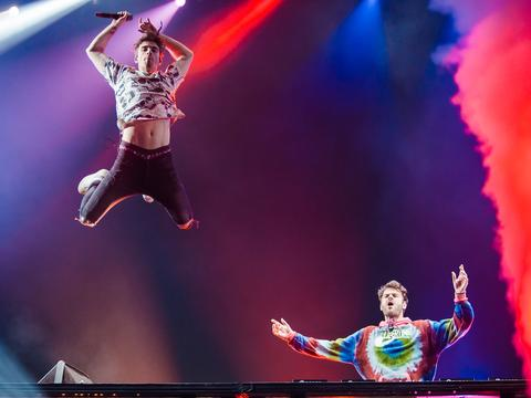 DJ duo The Chainsmokers will be among the all-star line up at this year's SINGAPORE GRAND PRIX. Picture: Mauricio Santana/Getty Images.