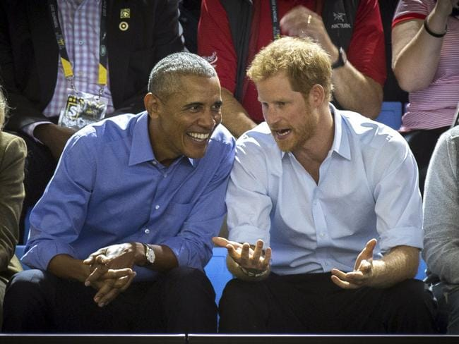 Prince Harry and Barack Obama have enjoyed a friendly relationship. Picture: Chris Donovan/The Canadian Press via AP