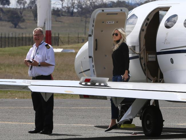 Roxy Jacenko visited her husband Oliver Curtis in Cooma Jail after flying into Cooma Airport on a private jet.
