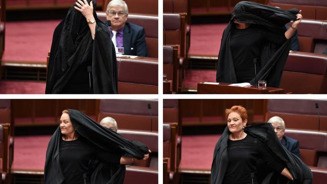 Ta dah! It was Pauline Hanson all along. Picture: AAP Image/Lukas Coch.