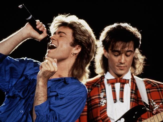 George Michael and Andrew Ridgeley of Wham! perform in Japan in 1985. Picture: Michael Putland/Getty Images