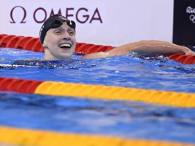 USA's Katie Ledecky celebrates after she won the Women's 200m Freestyle Final.