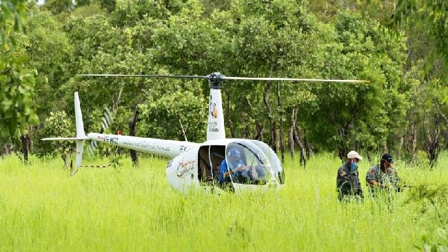 The chopper prepares to begin the search on the second day. Picture: MICHAEL FRANCHI