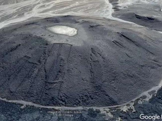 Some of the stone 'gates' shown on the side of a lava dome, which would likely have been active at the time they were built. Picture: Google Earth