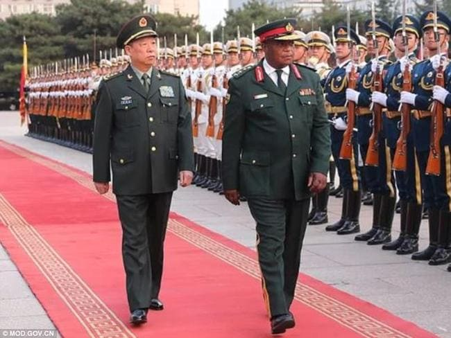 Zimbabwe's General Constantino Chiwenga, right, during a visit to Beijing last week. Picture: Chinese MoD