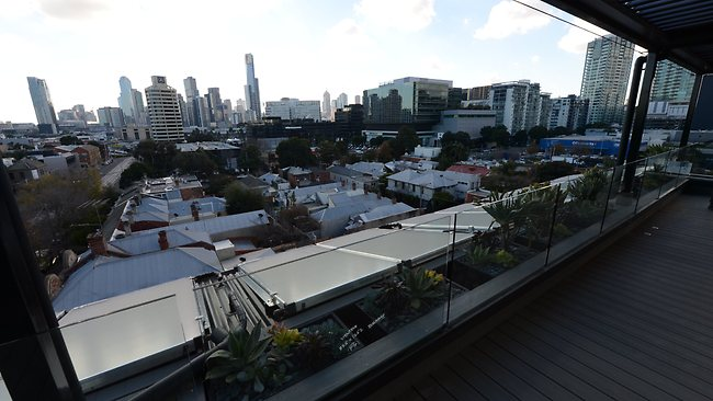 Views from the roof The Block houses could be obscured with planning approval for three-storey town houses next door. Picture: Tony Gough
