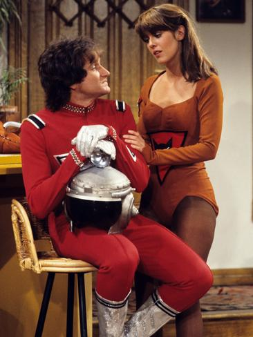 "MORK and MINDY - ""Mork Goes Public"" 10/19/78, Mork (Robin Williams) decided to reveal that he was an alien to a tabloid. Pam Dawber (Mindy) also starred. Picture: Getty"