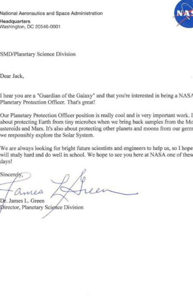 NASA responds to little Jack Davis' letter. Picture: NASA