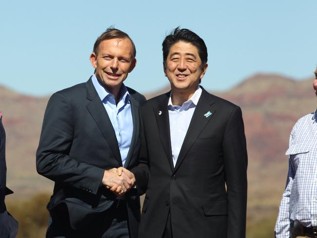 In agreement ... Prime Minister Tony Abbott and the Japanese Prime Minister Shinzo Abe. Picture: Gary Ramage