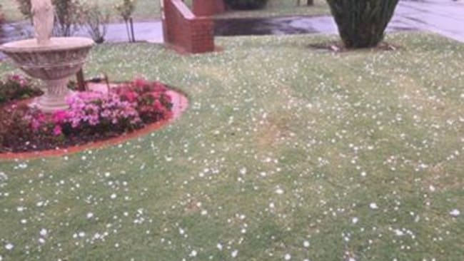 Hail in Narre Warren South. Picture: Terry Poulton