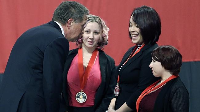"Moved... Kasich called them ""three extraordinary women"". Picture: Tony Dejak/AP"