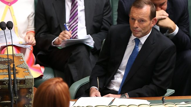"Julia Gillard and Tony Abbott face each other in question time, when the Prime Minister was accused of referring to the Opposition Leader as ""misogynist Tony"". Picture: Kym Smith"