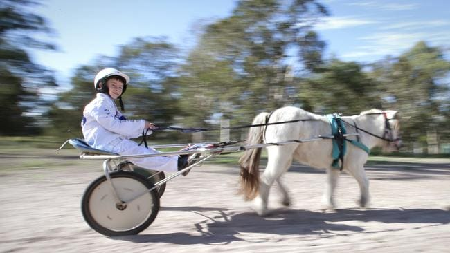 Young Ezekiel drives his Shetland pony Dazzling Opal. Picture: Jamie Hanson