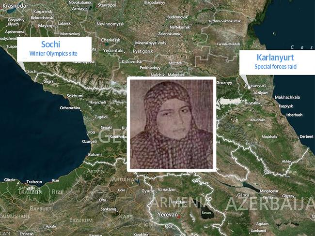 Zaira Alieva, inset, and the proximity of the town she was killed in - Karlanyurt - to the Winter Olympics city of Sochi.