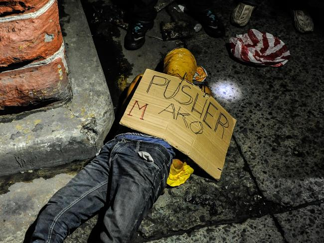 Like many others, this alleged drug dealer was found executed with his hands bound and his head wrapped in tape. Picture: Getty Images <br />