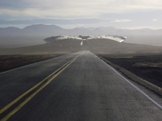 Road leading up to the Virgin Galactic Gateway to Space, Spaceport America, New Mexico.