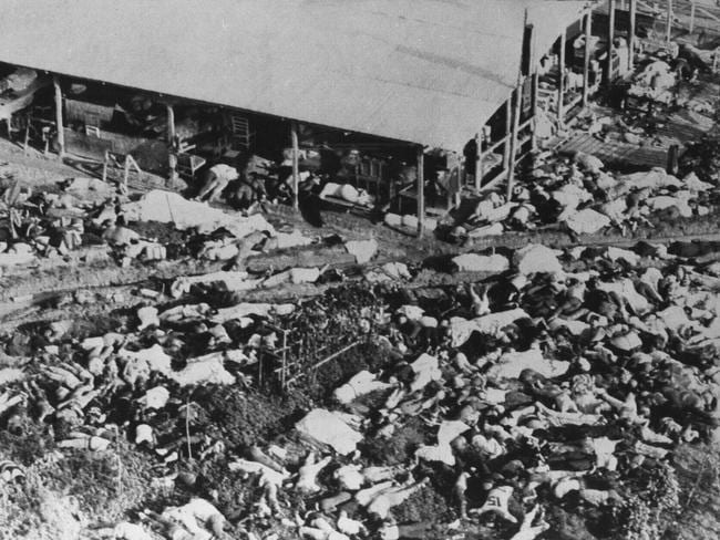 Aerial photo of bodies laying in front of the community hall in Jonestown.