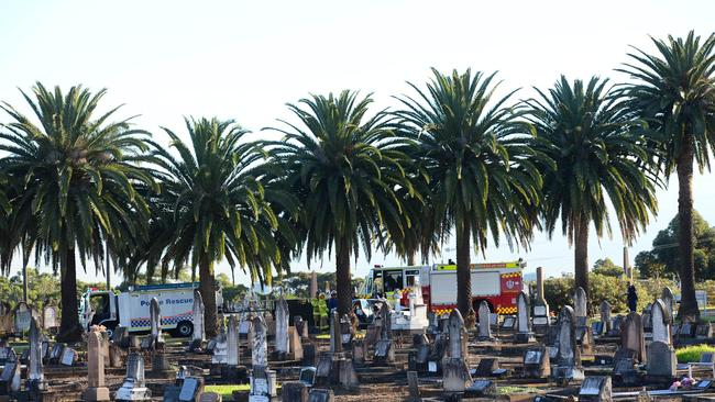 The scene of the incident: Firefighters at the Field of Mars Cemetery. photo Jeremy Piper