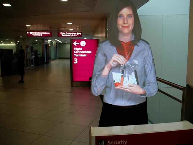 Holographic airport staff, kind of creepy really.