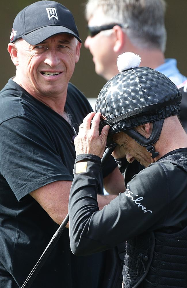 Good mates: Trainer Rob Heathcoat and jockey Damian Browne. Picture: Peter Wallis