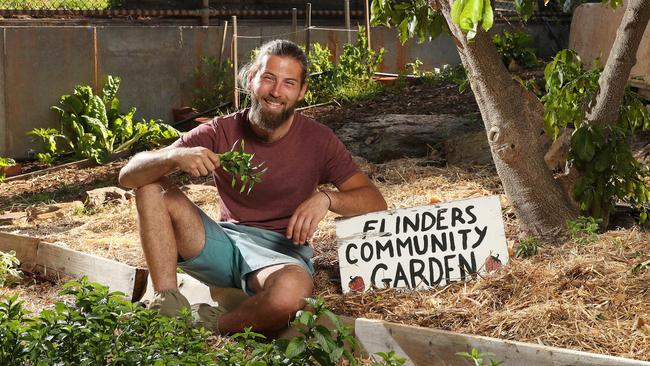 Josh Jarvis is the president of Flinders Permaculture Committee and an Innovation and Enterprise major at Flinders University. Picture: Dylan Coker