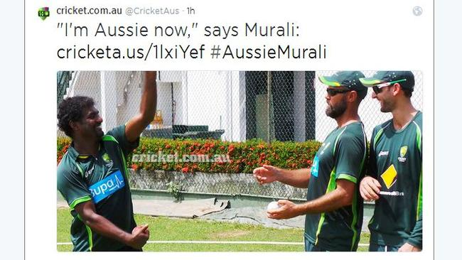 Cricket Australia announced Murali's appointment on Twitter, showing him with the Australian squad.