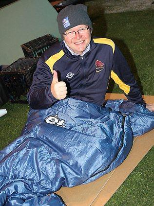 Kevin Rudd beds down for the night in the CEO Sleepout for St Vincint De Paul this week / Pic: Marc Roberston