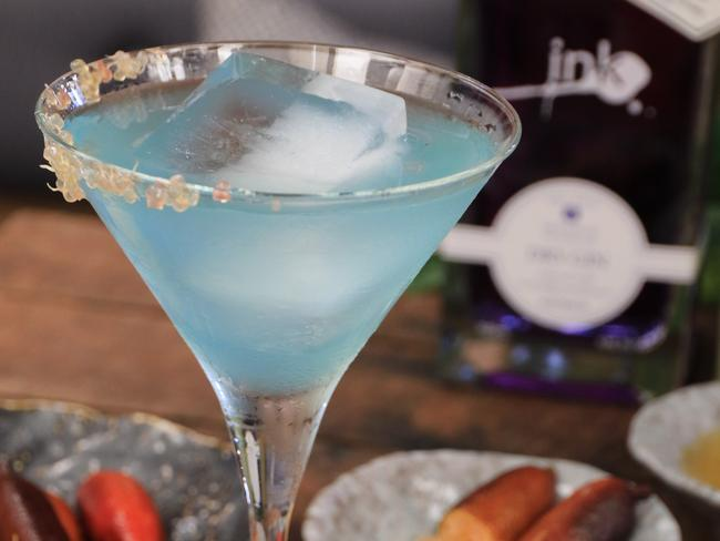 A blue Ink Gin martini.