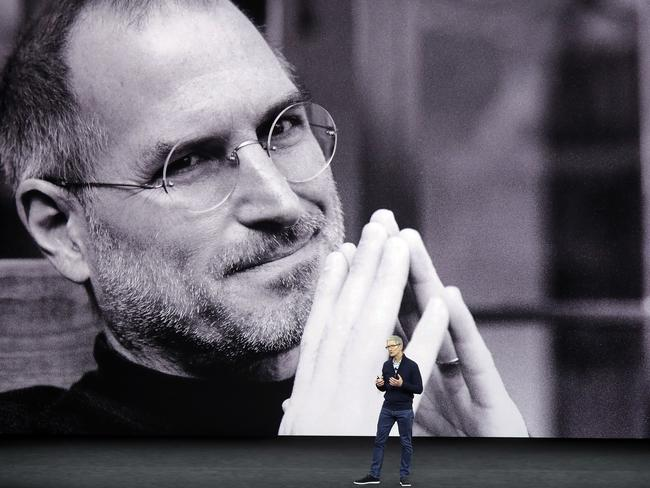 Apple CEO Tim Cook kicks off the event for a new product announcement at the Steve Jobs Theatre on the new Apple campus in Cupertino, California. Picture: AP