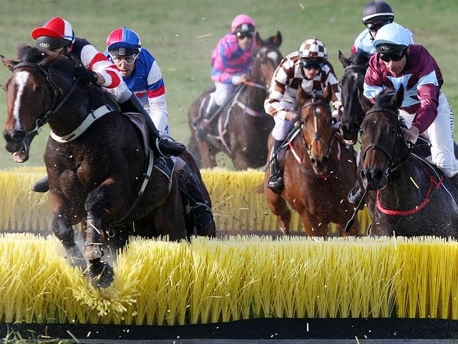 Bill Williams rides Sir Pentire (left) over the last of the Tozer Rd jumps double in 2009.