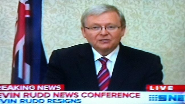 Kevin Rudd announces his resignation as foreign minister. Picture: Channel 9