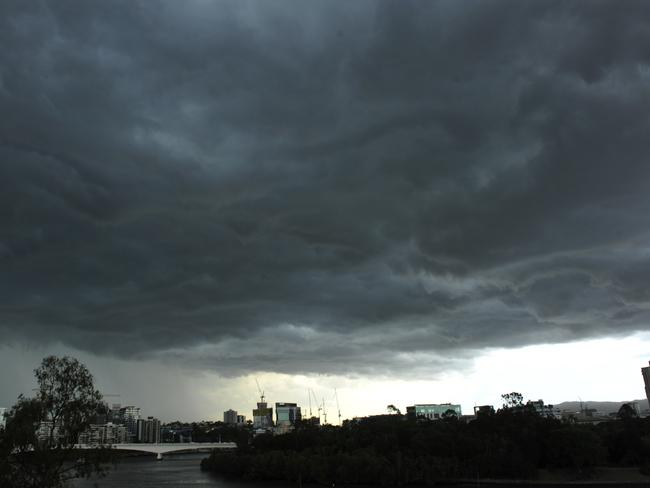 Storm clouds gathering over Brisbane.