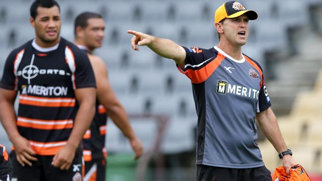 Tiger's coach Mick Potter during a Wests Tigers training session.