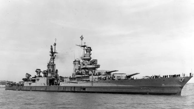 USS Indianapolis (CA 35) is shown shortly before she was lost on July 30, 1945. Picture: US Navy / AP
