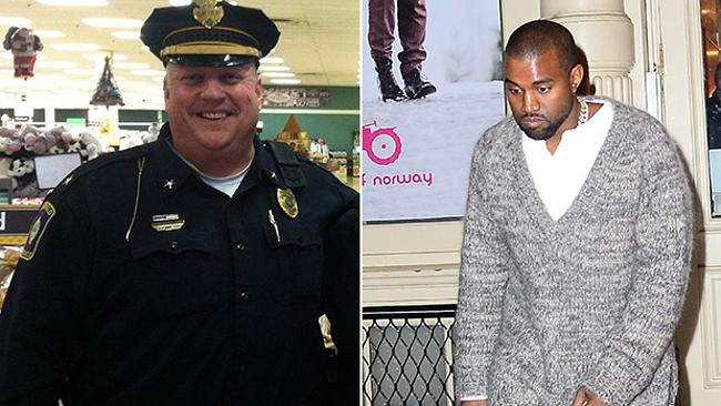 Chief Oliver grinning, Kanye moping. Photo: Facebook