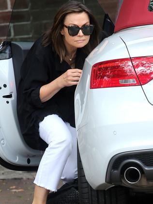 Lisa Wilkinson was pictured hiding from photographers on Wednesday. Picture: Diimex
