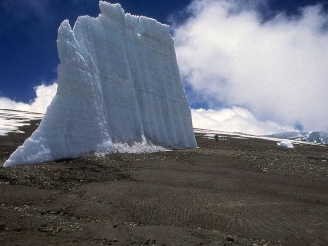 An undated photo shows one of the growing number of isolated remnants of ice spires that were once full glaciers in the crater of Mount Kilimanjaro.