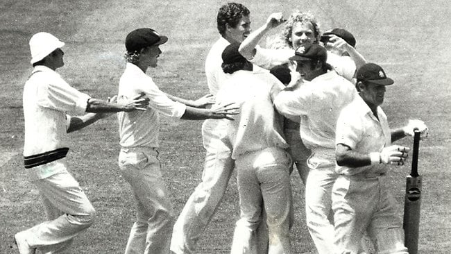 Geoff Boycott heads off after being bowled by Rodney Hogg in the 1978 Boxing Day Test.