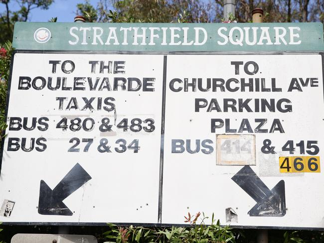 Bus signs in Strathfield show routes 27 and 34 which have long been defunct. Picture: Craig Wilson