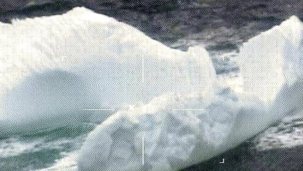 This March 2017 photo released by the US Coast Guard and made by a robotic camera aboard a reconnaissance aircraft shows icebergs floating near the Grand Banks of Newfoundland in the North Atlantic Ocean. Picture: US Coast Guard via AP