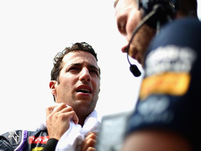 Ricciardo talks to a Red Bull Racing crew member before the start of the Malaysian GP.