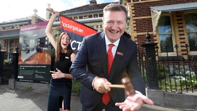 Hocking Stuart Albert Park director David Wood and his colleague Stephanie Evans in goldmine Albert Park. Picture: Alex Coppel.