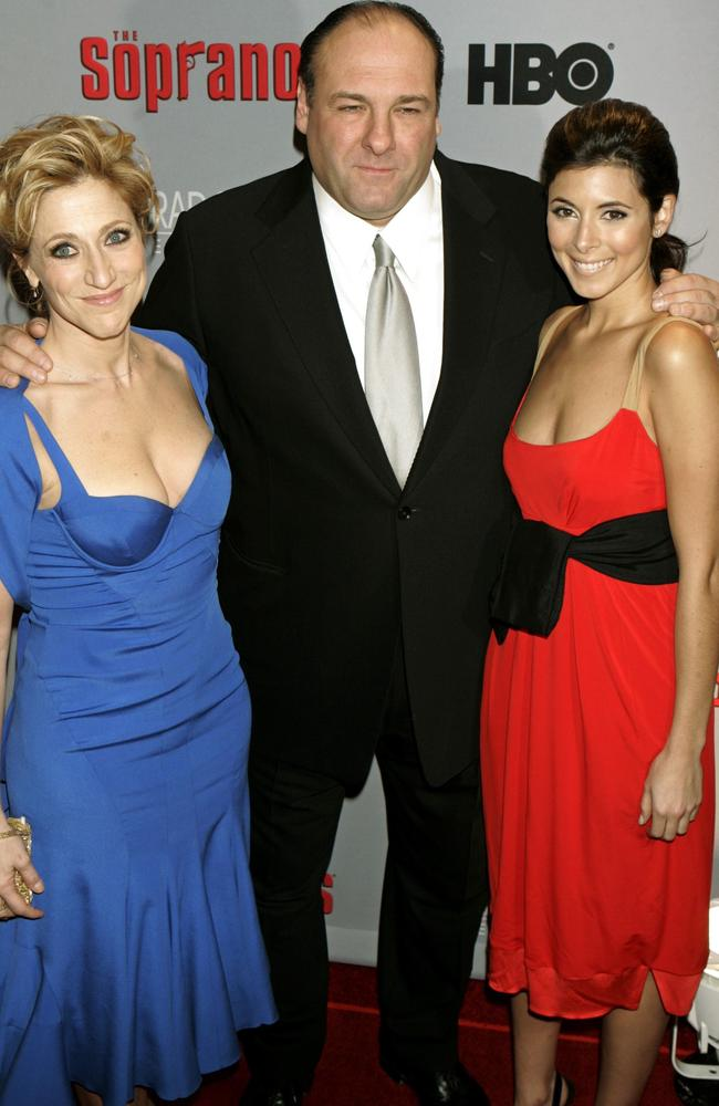Sigler in 2006 with Sopranos co-stars Edie Falco and James Gandolfini.