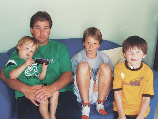 Robert Farquharson, pictured here in early 2005 with his three sons. Within months of this photo being taken, he plunged his car into a dam, drowning all three children.
