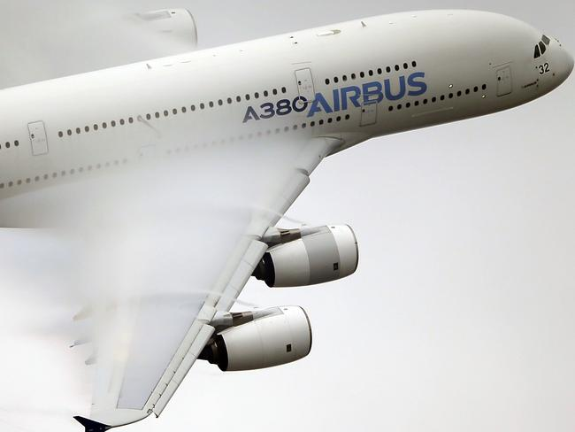 An A380 performs a demonstration flight at the Paris Air Show in 2015. Picture: AP/Francois Mori, File